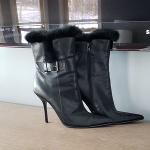 Rabbit Fur Trimmed Leather Booties